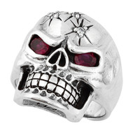 Four Shots of Wisdom Simulated Garnet Red Cubic Zirconia Eyes Skull Ring Sterling Silver 925