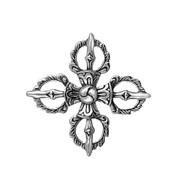 Antique Filigree Style Greek Cross Pendant Sterling Silver 41MM