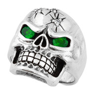 Four Shots of Wisdom Green Cubic Zirconia Eyes Skull Sterling Silver 925