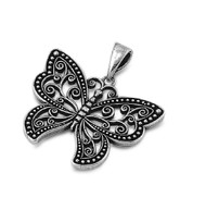 Antique Style Butterfly Pendant Sterling Silver 21MM
