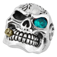 YG Plated Bullet to the Head Skull Sterling Silver 925 Simulated Aqua Blue Cubic Zirconia One Eye