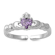 Benediction of Claddagh Heart Knuckle / Toe Ring Simulated Amethyst Cubic Zirconia Sterling Silver 7MM