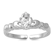 Benediction of Claddagh Heart Knuckle / Toe Ring Clear Cubic Zirconia Sterling Silver 7MM