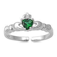 Benediction of Claddagh Heart Knuckle / Toe Ring Simulated Emerald Cubic Zirconia Sterling Silver 7MM
