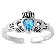 Claddagh Benediction Heart Knuckle / Toe Ring Blue Simulated Topaz Cubic Zirconia Sterling Silver 7MM
