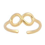 Infinity Cubic Zirconia Knuckle / Toe Ring Yellow Gold- Tone Plated Sterling Silver 5MM