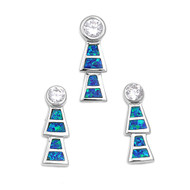 Abstract Drop Clear Cubic Zirconia Matching Set Sterling Silver 22MM