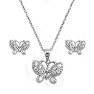 Butterfly Clear Cubic Zirconia Matching Set Sterling Silver 13MM