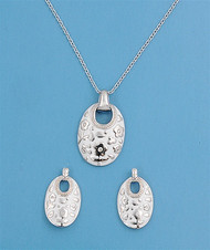 Oval Clear Matching Set Sterling Silver 24MM