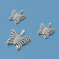 Butterfly Clear Cubic Zirconia Matching Set Sterling Silver 16MM