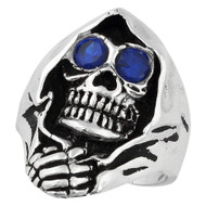 Grim Reaper Death Skull Sterling Silver 925 Simulated Sapphire Blue Cubic Zirconia Eyes