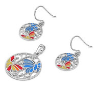 Butterfly Multicolor Simulated Agate Matching Set Sterling Silver 22MM