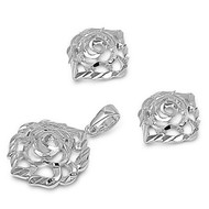 Flower Matching Set Sterling Silver 24MM
