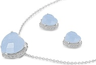 Heart Milky Blue Cubic Zirconia Matching Set Sterling Silver 17MM