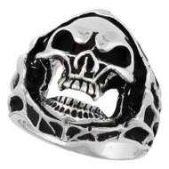 Blood Hungry Skull Ring Sterling Silver 925