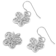 Butterfly Clear Cubic Zirconia Matching Set Sterling Silver 15MM