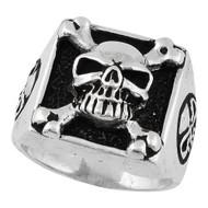 Armed & Dangerous Skull Ring Sterling Silver 925