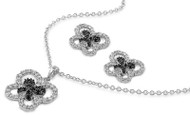 Butterfly Black Cubic Zirconia Matching Set Sterling Silver 17MM