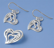 Heart Matching Set Sterling Silver 19MM
