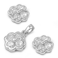 Clover Clear Cubic Zirconia Matching Set Sterling Silver 10MM
