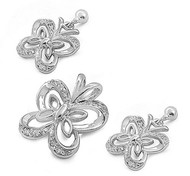 Butterfly Clear Cubic Zirconia Matching Set Sterling Silver 14MM