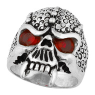 Serpentine Demon Skull Sterling Silver 925 Simulated Ruby Red Cubic Zirconia Eyes