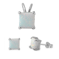 Princes Cut White Simulated Opal Matching Set Sterling Silver 8MM