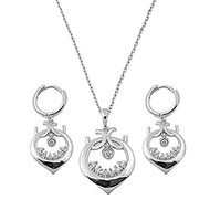 Chandelier Clear Cubic Zirconia Matching Set Sterling Silver 29MM