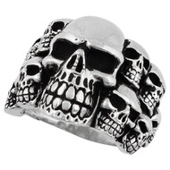 Ninth Circle of Hell Skull Ring Sterling Silver 925
