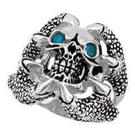 Claw of the Beast Skull Sterling Silver 925 Simulated Aqua Blue Cubic Zirconia Eyes