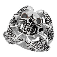 Claw of the Beast Skull Sterling Silver 925 Black Cubic Zirconia Eyes