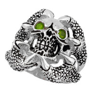 Claw of the Beast Skull Sterling Silver 925 Olive Green Cubic Zirconia Eyes