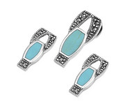 Abstract Drop Simulated Turquoise Matching Set Sterling Silver 21MM