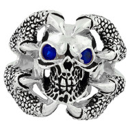 Claw of the Beast Skull Sterling Silver 925 Simulated Sapphire Blue Cubic Zirconia Eyes