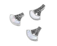 Anchor Shaped Simulated Mother Of Pearl Matching Set Sterling Silver 16MM