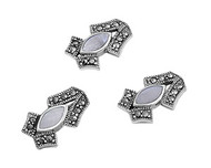 Marquise Drop Simulated Mother Of Pearl Matching Set Sterling Silver 17MM