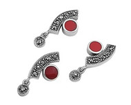 Abstract Round Simulated Carnelian Matching Set Sterling Silver 23MM