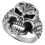 Devil's Disciple Skull Ring Sterling Silver 925