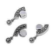 Abstract Round Simulated Mother Of Pearl Matching Set Sterling Silver 24MM