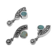 Abstract Round Simulated Turquoise Matching Set Sterling Silver 24MM