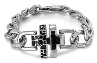 Cross Chain Biker Bracelet Stainles Steel Size 9