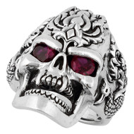 Dragon Rebel Skull Ring Sterling Silver 925 Simulated Garnet Red Cubic Zirconia