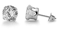 Round Cubic Zirconia Stud Earrings Stainles Steel 9MM
