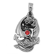 Dragon Anchor Red Simulated Crystal Cubic Zirconia Pendant Stainles Steel 18MM