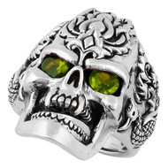 Dragon Rebel Skull Sterling Silver 925 Olive Green