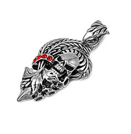 Red Simulated Crystal Cubic Zirconia Skull Pendant Stainles Steel 38MM