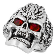 Dragon Rebel Skull Sterling Silver 925 Simulated Ruby Red