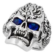 Dragon Rebel Skull Sterling Silver 925 Simulated Sapphire Blue