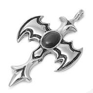 Bat Cross Pendant Stainles Steel 47MM