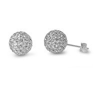 Pave Ball Cubic Zirconia Earrings Sterling Silver  10MM